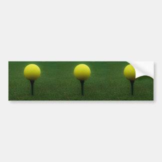 Yellow Golf Ball on a mountain golf course Bumper Sticker