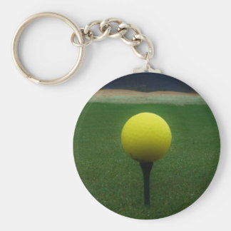 Yellow Golf Ball on a mountain golf course Key Chain