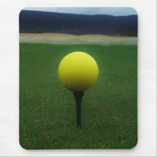 Yellow Golf Ball on a mountain golf course Mouse Pads