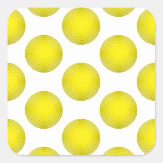 Yellow Golf Ball Pattern Square Stickers