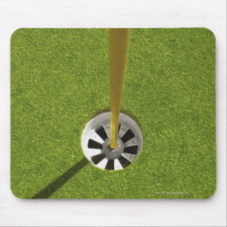 Yellow golf flag pole and hole mouse pad