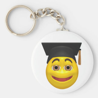 Yellow graduating smiley wearing cap keychain
