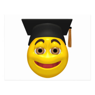 Yellow graduating smiley wearing cap postcard