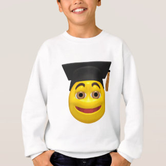 Yellow graduating smiley wearing cap sweatshirt