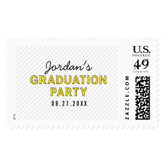 Yellow Graduation Party Modern Stripes Postage
