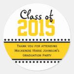Yellow Graduation Year Favor Label Stickers