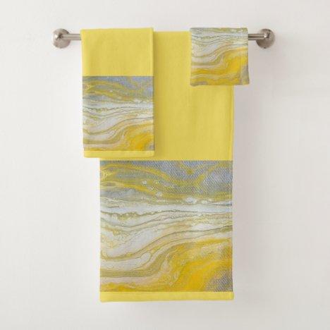 Yellow & Gray Abstract Bathroom Towel Set