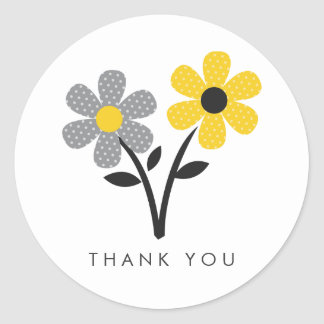 Yellow, Gray and Black Flowers Classic Round Sticker