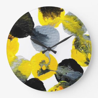 Yellow, Gray and Black Intertactions Large Clock