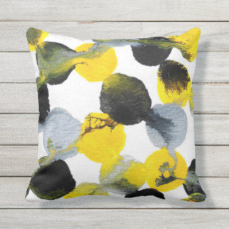 Yellow, Gray and Black Intertactions Pattern Outdoor Pillow