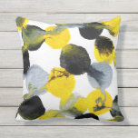 Yellow, Gray and Black Intertactions Pattern Throw Pillow