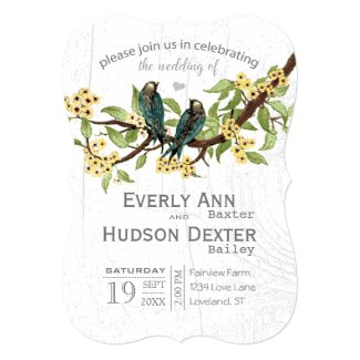 Yellow Grey and Blue Green Vintage Birds Wedding 5x7 Paper Invitation Card
