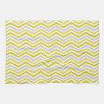 Yellow, Gray, and White Chevron Stripes Hand Towel