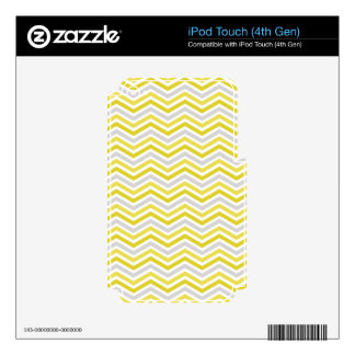 Yellow, Gray, and White Chevron Stripes iPod Touch 4G Decal