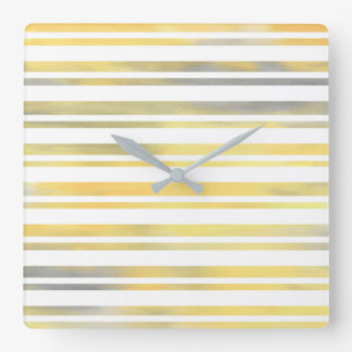 Yellow Gray and White Stripes Square Wall Clock