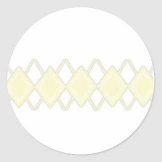 yellow gray argyle classic round sticker