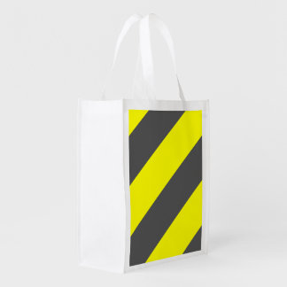 Yellow Gray Attention Construction Warning Stripes Market Totes
