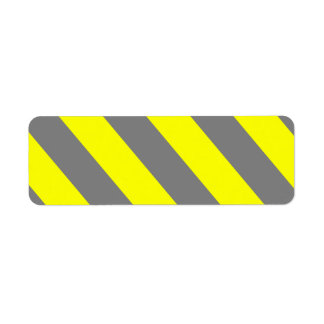 Yellow Gray Attention Warning Construction Stripes Label
