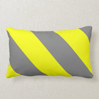 Yellow Gray Attention Warning Stripes Lumbar Pillow