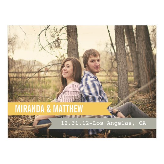 Yellow & Gray Banners  Save The Date Post Card