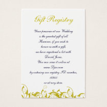 yellow gray Baroque Wedding Business Card