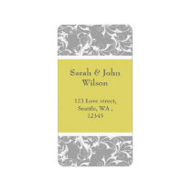 yellow gray Baroque Wedding Label