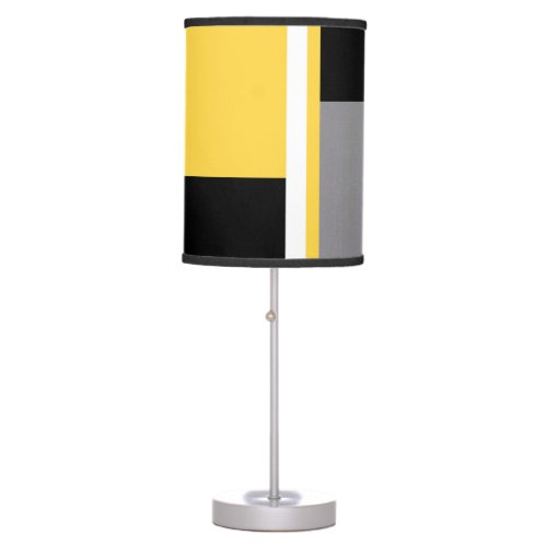 Yellow Gray Black and White Block Table Lamp