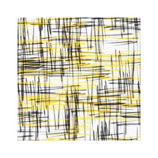 'Yellow Gray Black Scribbles' Watercolor Abstract Canvas Print
