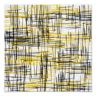 'Yellow Gray Black Scribbles' Watercolor Abstract Poster