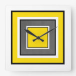 Yellow Gray Black Squares Square Wall Clock