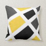 Yellow Gray Black White Geometric Pillow