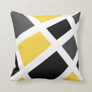 Yellow Gray Black White Geometric Throw Pillow