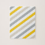 "Yellow Gray Blue Stripes Jigsaw Puzzle<br><div class=""desc"">Basic stripes in yellow,  blue and gray.</div>"