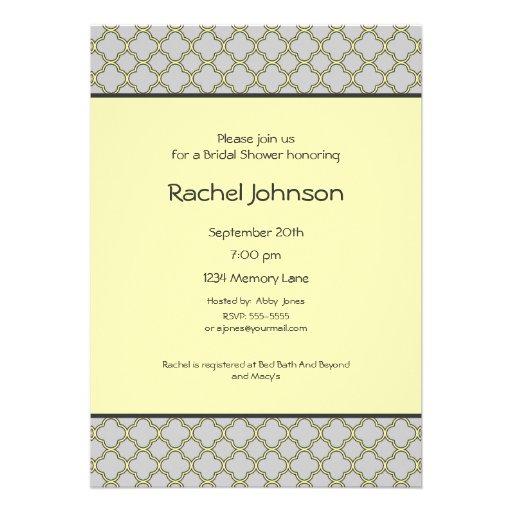 Yellow gray bridal shower invitation zazzle for Yellow bridal shower invitations