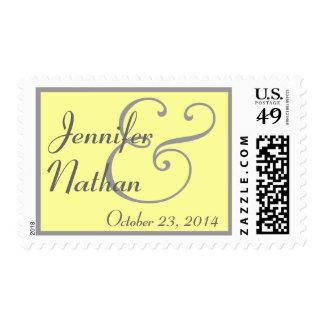 YELLOW & GRAY Bride and Groom Wedding Stamp