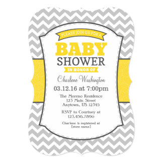 Yellow Gray Chevron Baby Shower Invitation