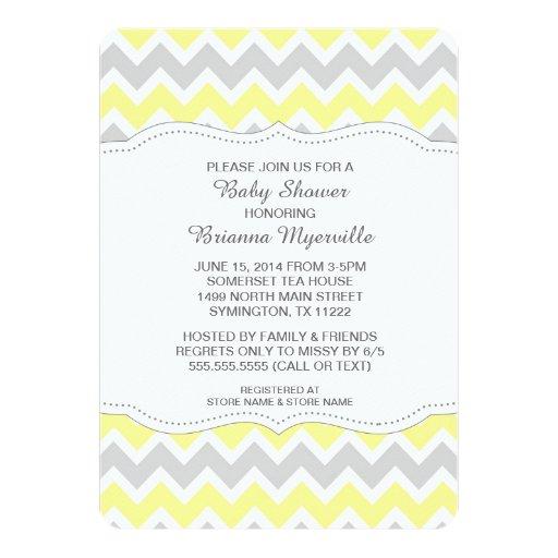 Yellow Gray Chevron Baby Shower Invites MODERN | Zazzle