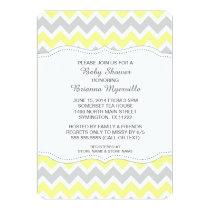 Yellow Gray Chevron Baby Shower Invites MODERN