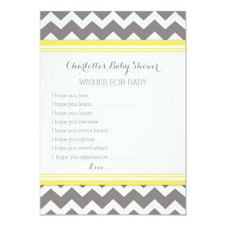 Yellow Gray Chevron Baby Shower Note to Baby 5x7 Paper Invitation Card