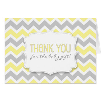Yellow Gray Chevron Baby Shower thank you notes