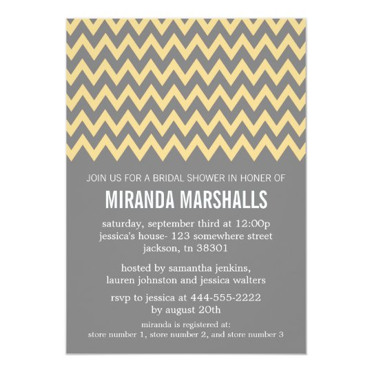 Yellow & Gray Chevron Bridal Shower Invitations