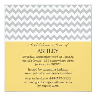 """Yellow & Gray Chevron Bridal Shower Invitations 5.25"""" Square Invitation Card"""