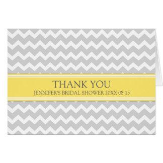 Yellow Gray Chevron Bridal Shower Thank You Card