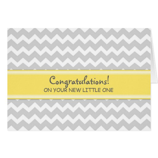 Yellow Gray Chevron Congratulations on Expecting Greeting Cards
