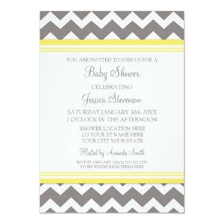 Yellow Gray Chevron Custom Baby Shower Invitations