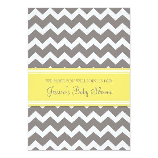 yellow gray chevron custom baby shower invitations 5 x 7 invitati