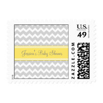 Yellow Gray Chevron Custom Baby Shower Stamps