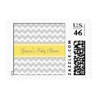Yellow Gray Chevron Custom Baby Shower Stamps