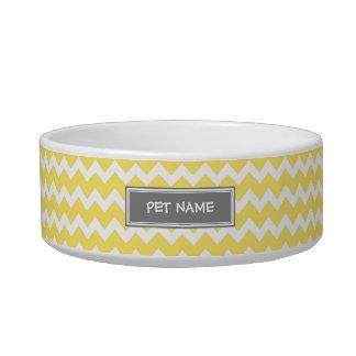 Yellow Gray Chevron Custom Name Cat Bowl