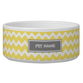 Yellow Gray Chevron Custom Name Dog Bowl